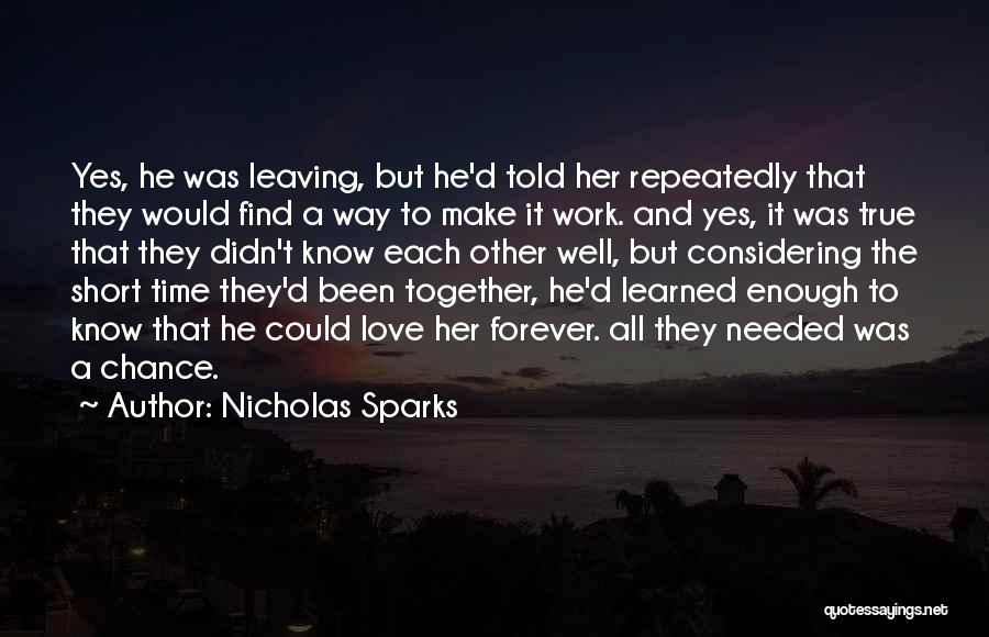 Non Believer Love Quotes By Nicholas Sparks
