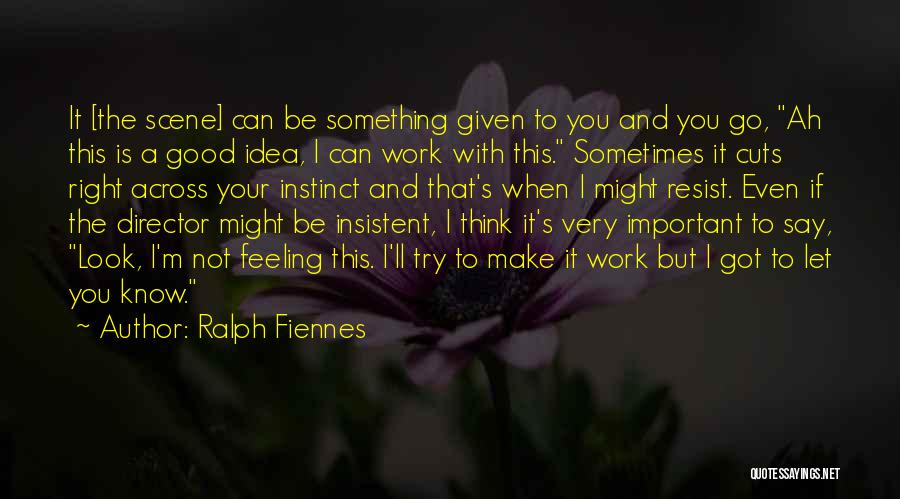 Not A Good Idea Quotes By Ralph Fiennes