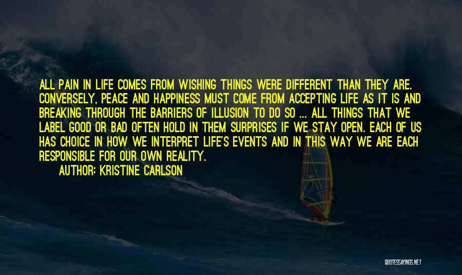 Not Accepting Reality Quotes By Kristine Carlson