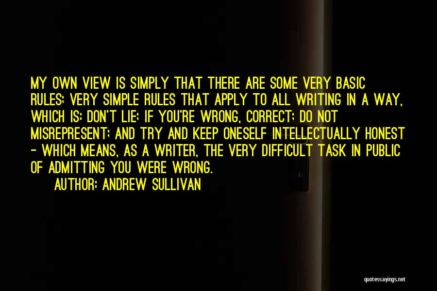 Not Admitting Your Wrong Quotes By Andrew Sullivan