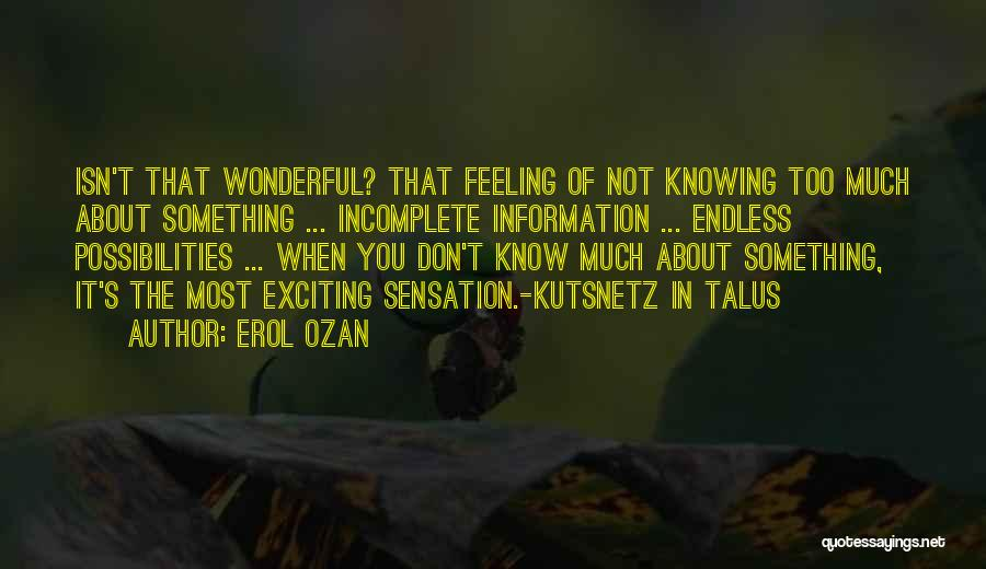 Not Knowing The Unknown Quotes By Erol Ozan