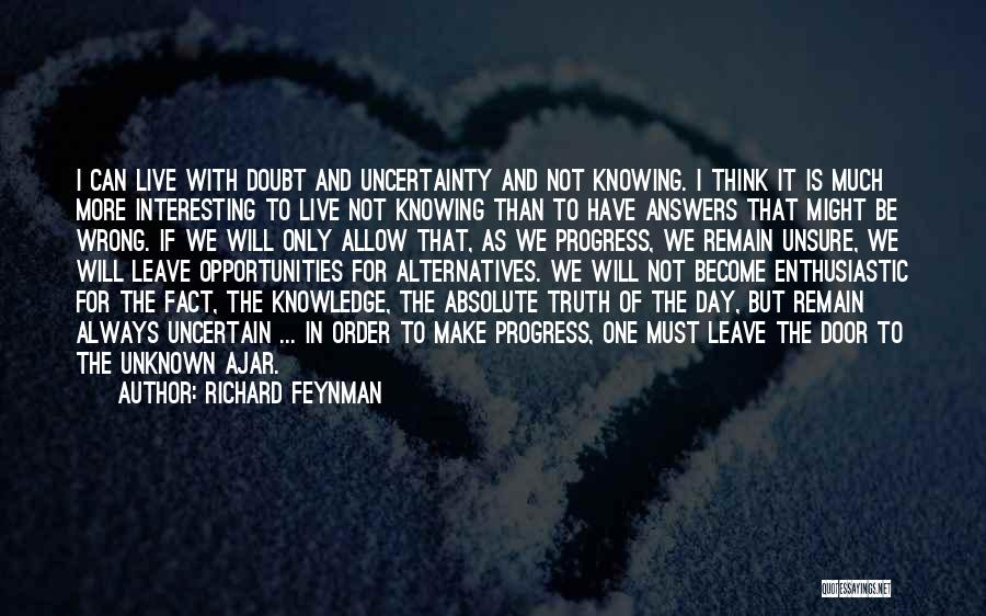 Not Knowing The Unknown Quotes By Richard Feynman