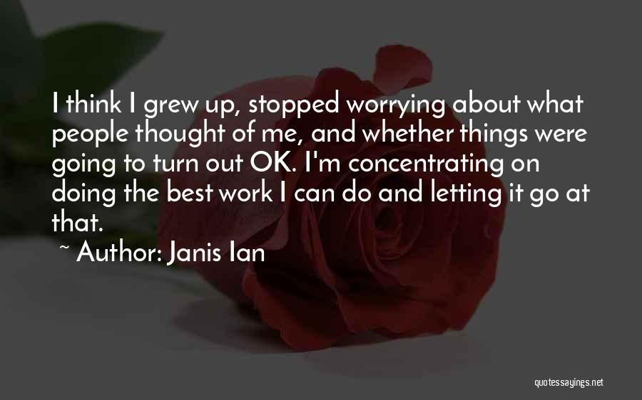 Not Worrying About Work Quotes By Janis Ian