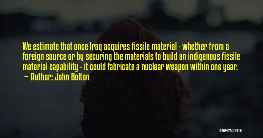 Nuclear Weapon Quotes By John Bolton