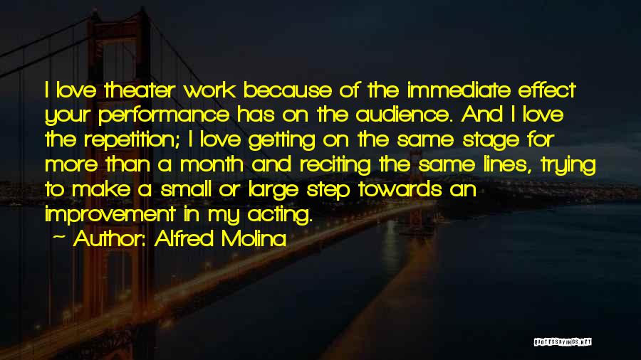 On Stage Performance Quotes By Alfred Molina