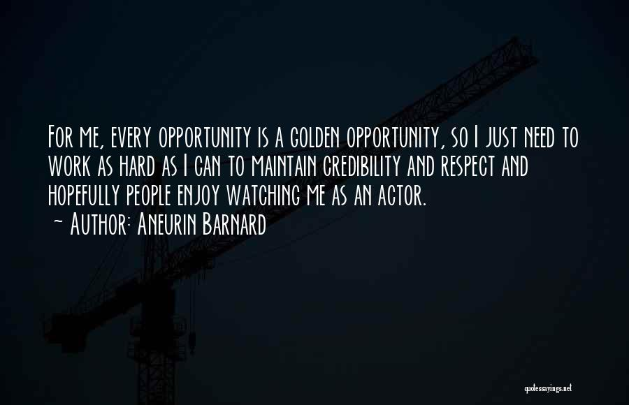 Opportunity And Hard Work Quotes By Aneurin Barnard