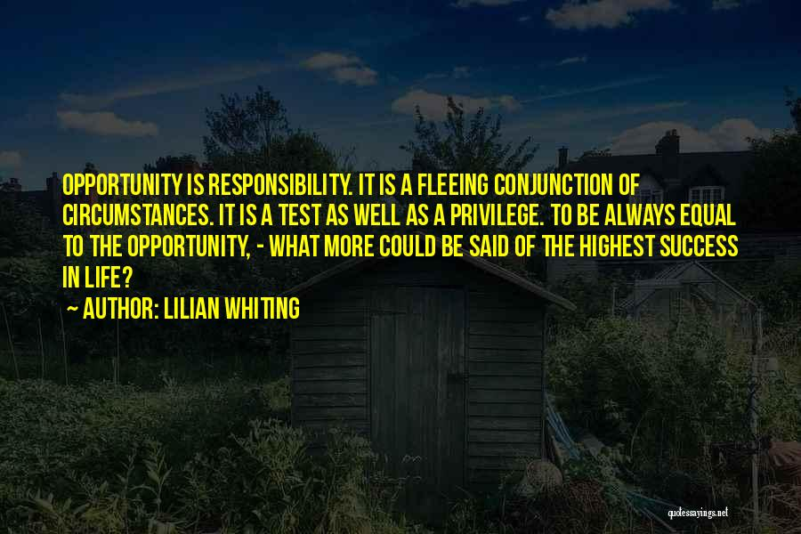 Opportunity Quotes By Lilian Whiting