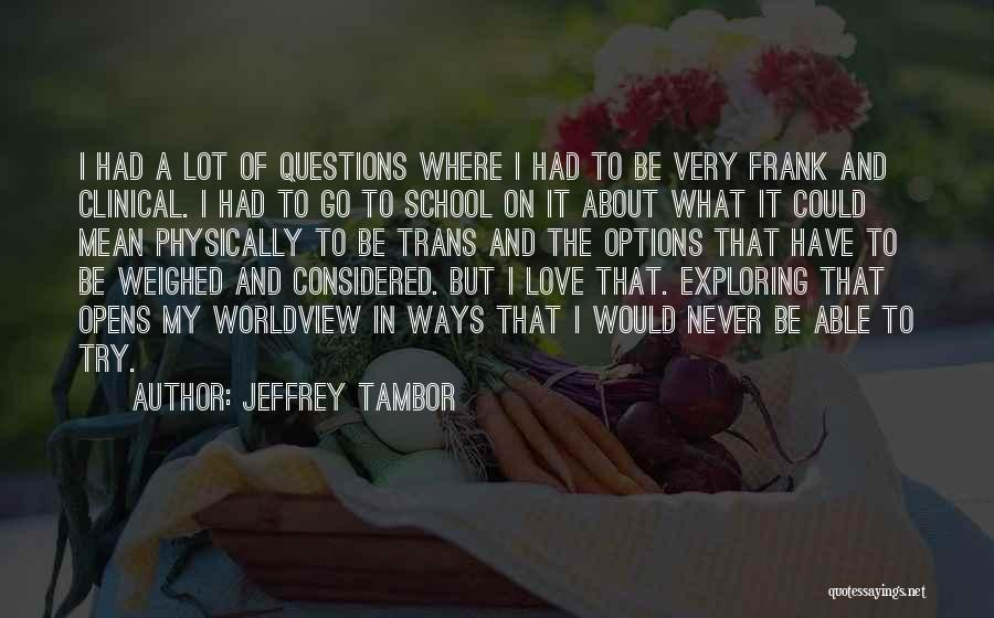 Options In Love Quotes By Jeffrey Tambor