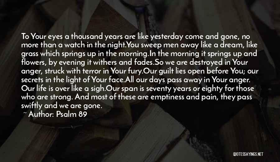 Pain In Eyes Quotes By Psalm 89