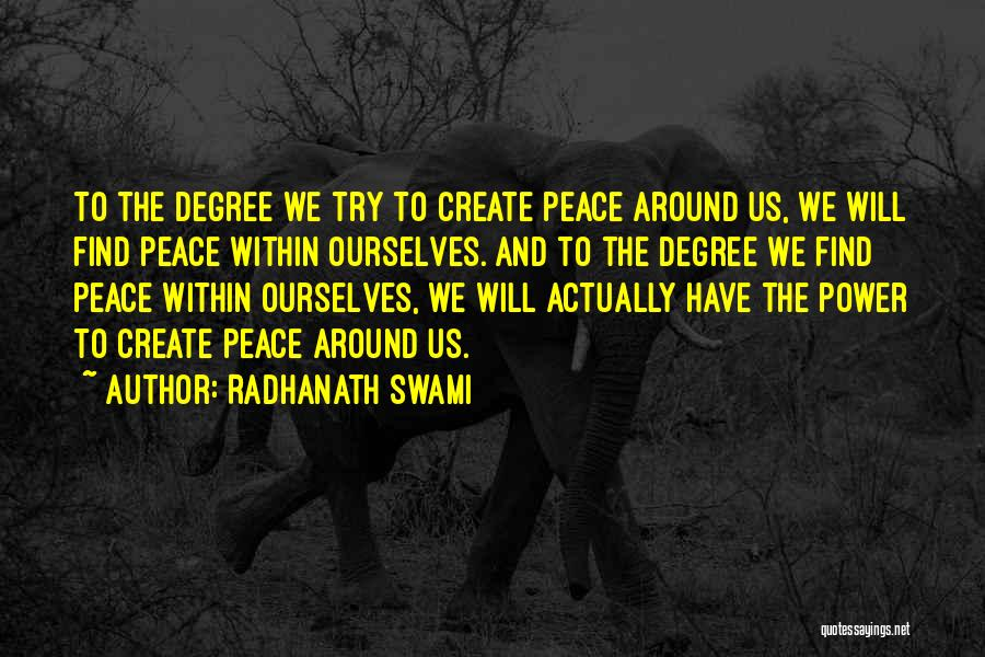 Peace Finding Quotes By Radhanath Swami