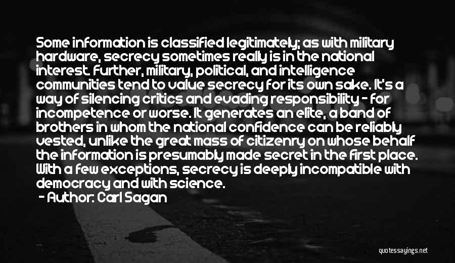 Political Elite Quotes By Carl Sagan
