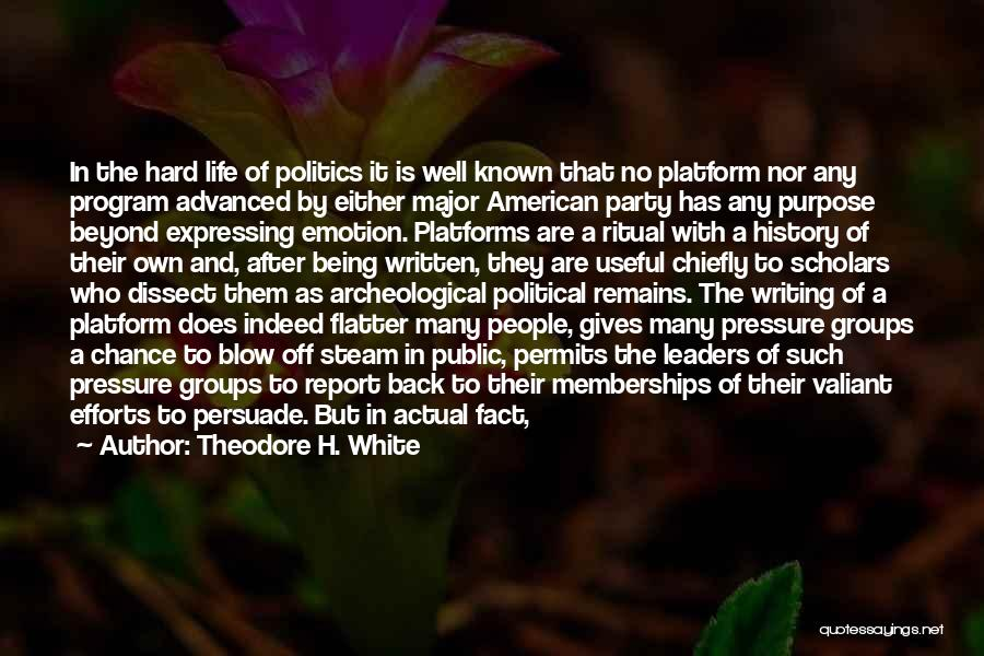 Political Platform Quotes By Theodore H. White