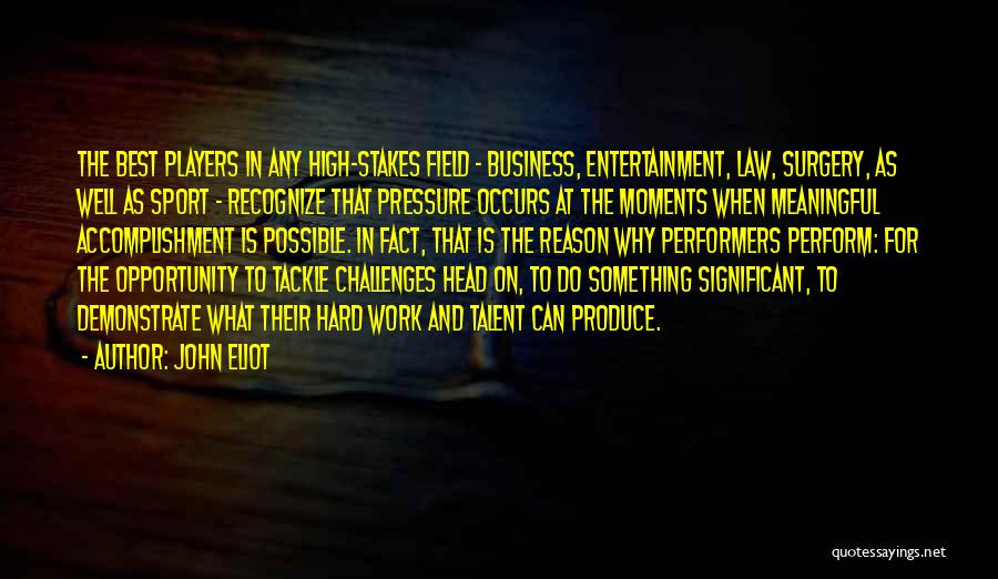 Pressure In Sports Quotes By John Eliot