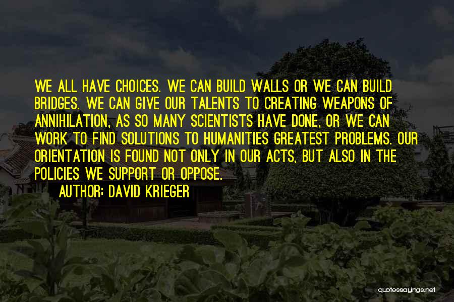 Problems Have Solutions Quotes By David Krieger
