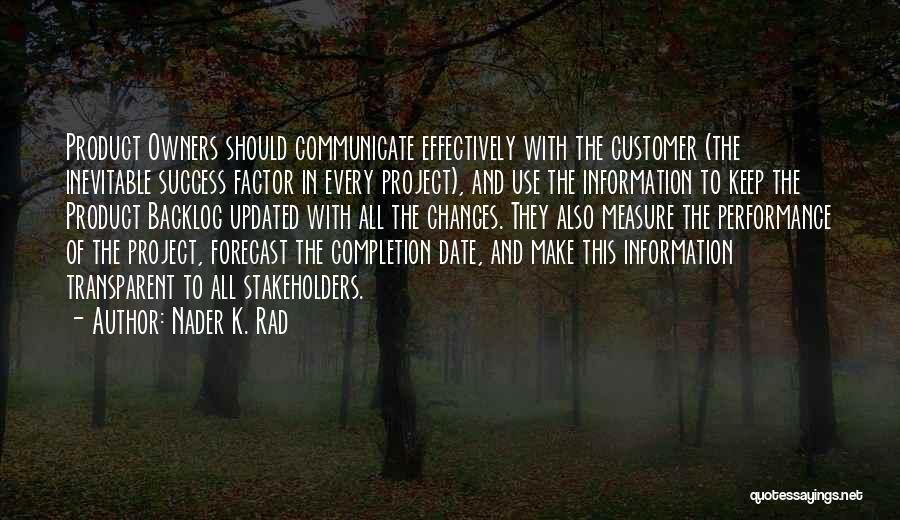 Project Completion Quotes By Nader K. Rad