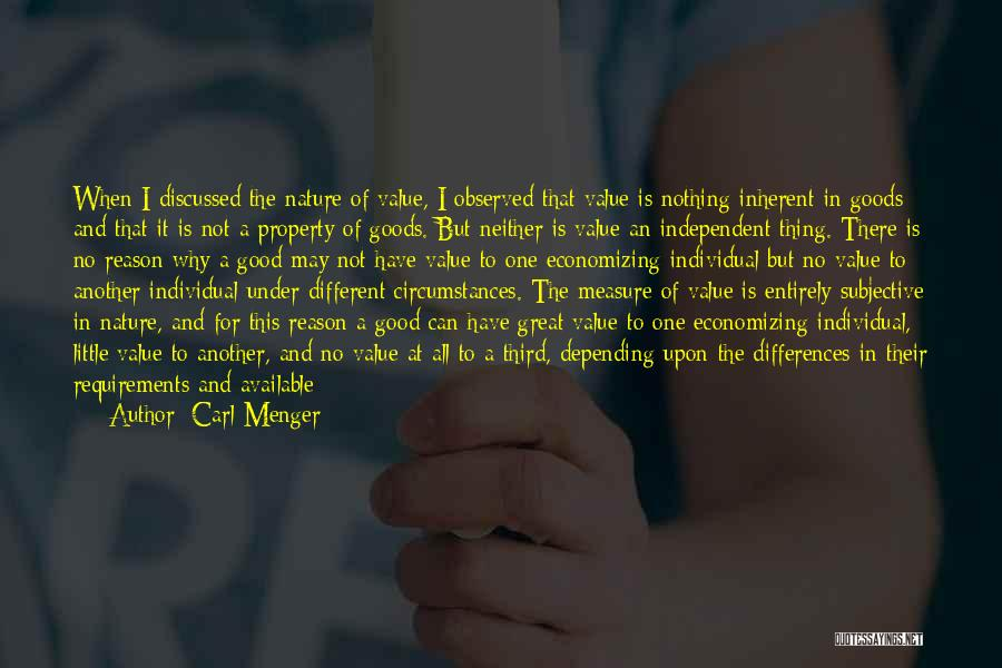 Property Quotes By Carl Menger