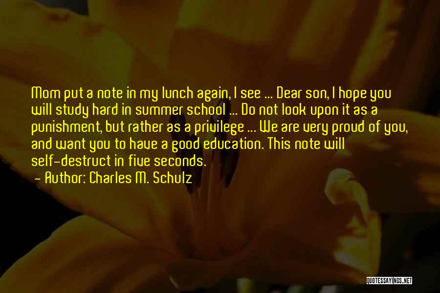 Punishment In School Quotes By Charles M. Schulz