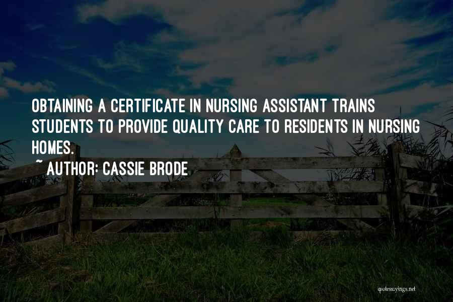 Quality Nursing Care Quotes By Cassie Brode