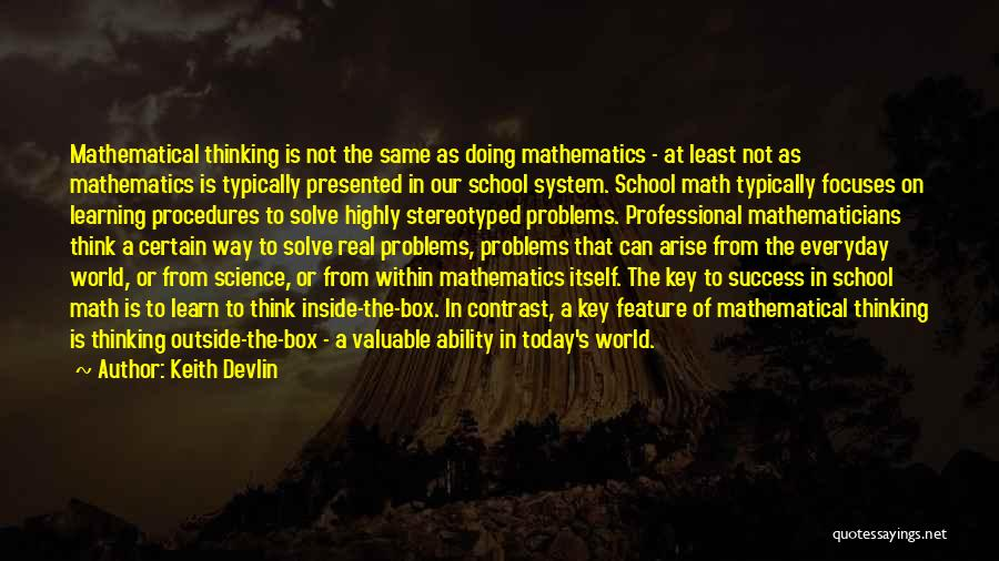 Real World Education Quotes By Keith Devlin