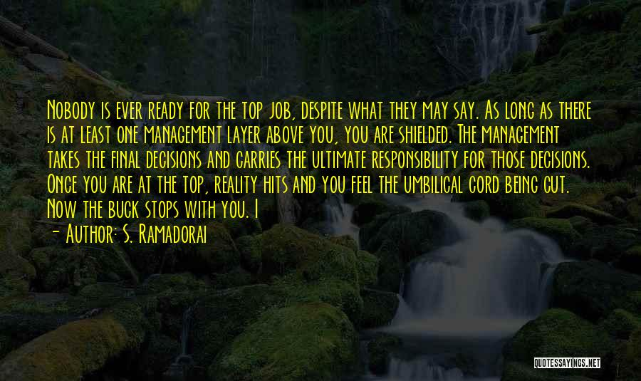 Reality Hits Me Quotes By S. Ramadorai