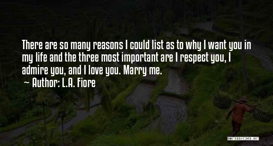 Reasons To Love Life Quotes By L.A. Fiore