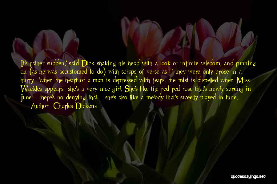 Red Rose With Quotes By Charles Dickens