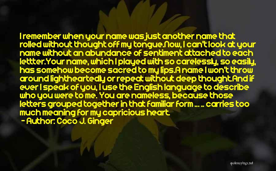 Remembering My Love Quotes By Coco J. Ginger