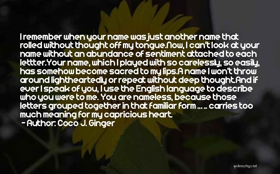 Remembering Names Quotes By Coco J. Ginger