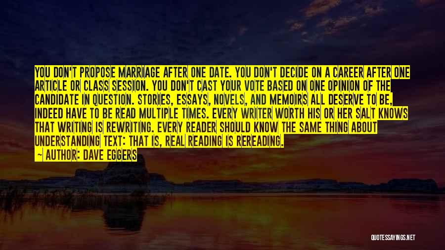Rewriting Quotes By Dave Eggers