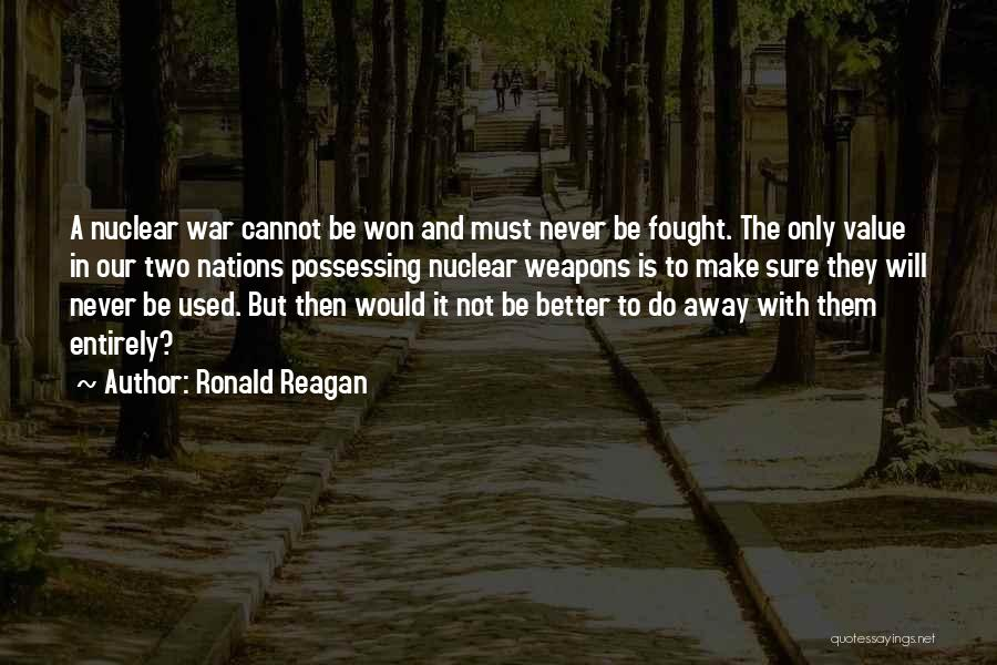Ronald Reagan Nuclear Weapons Quotes By Ronald Reagan