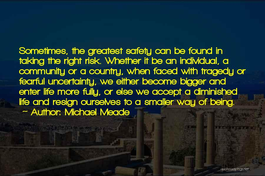 Safety And Risk Quotes By Michael Meade