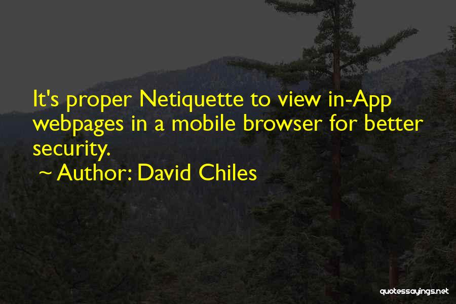 Safety On The Internet Quotes By David Chiles