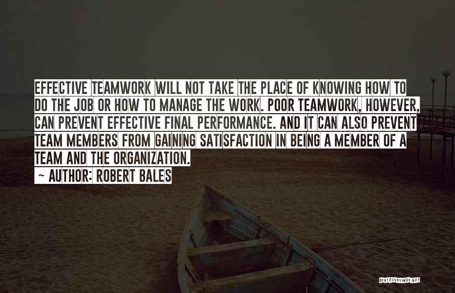 Satisfaction From Work Quotes By Robert Bales