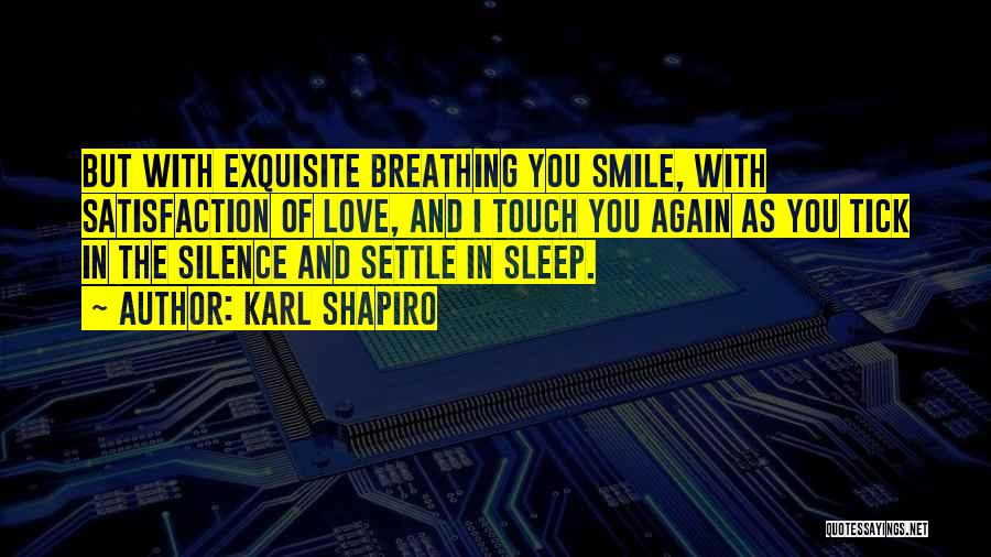 Satisfaction Love Quotes By Karl Shapiro