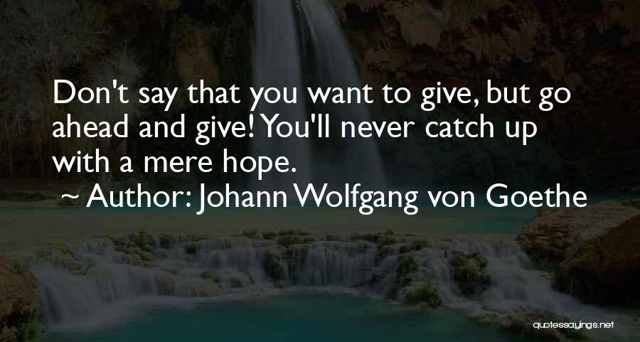 Say You'll Never Go Quotes By Johann Wolfgang Von Goethe
