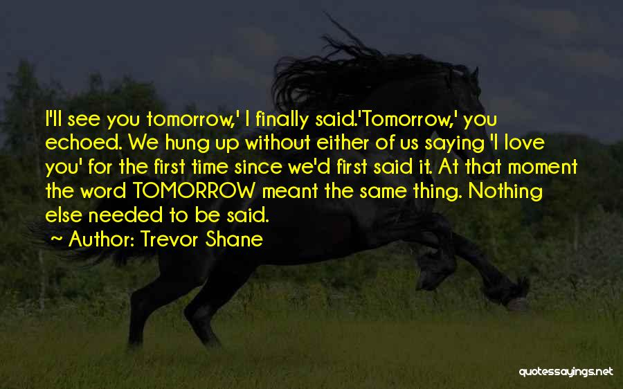Saying Love You First Time Quotes By Trevor Shane