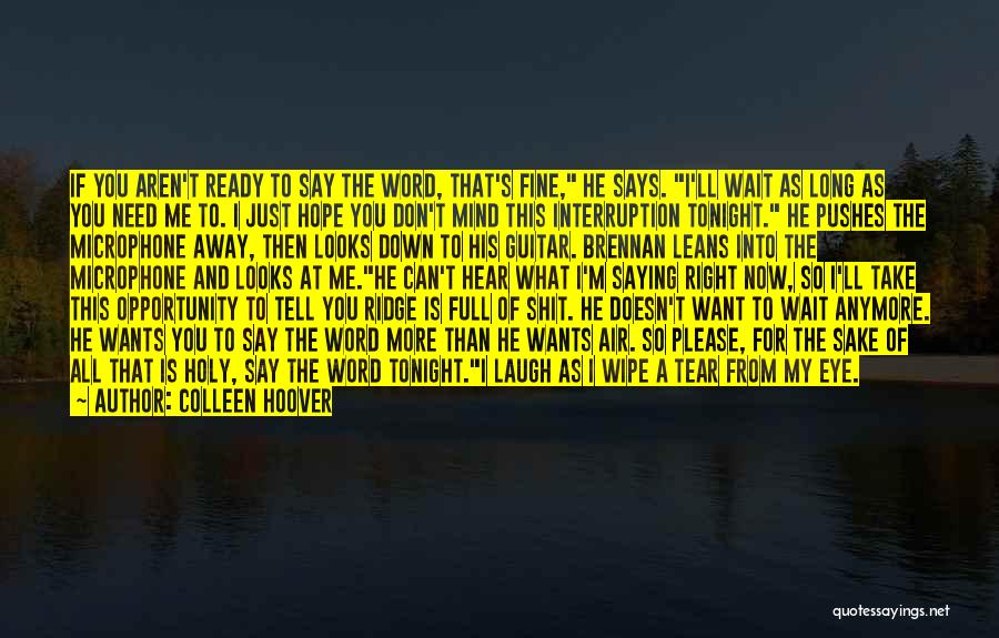 Saying You're Fine Quotes By Colleen Hoover