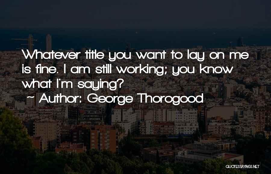 Saying You're Fine Quotes By George Thorogood