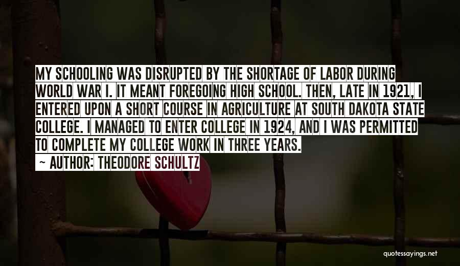 Schooling The World Quotes By Theodore Schultz