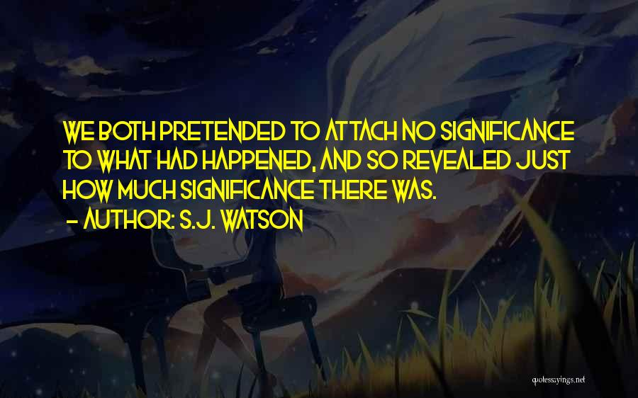 Significance Quotes By S.J. Watson