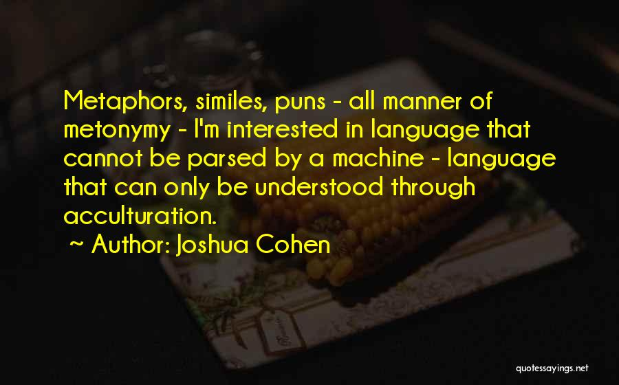 Similes And Metaphors Quotes By Joshua Cohen