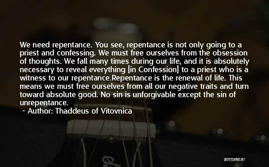 Sin And Repentance Quotes By Thaddeus Of Vitovnica