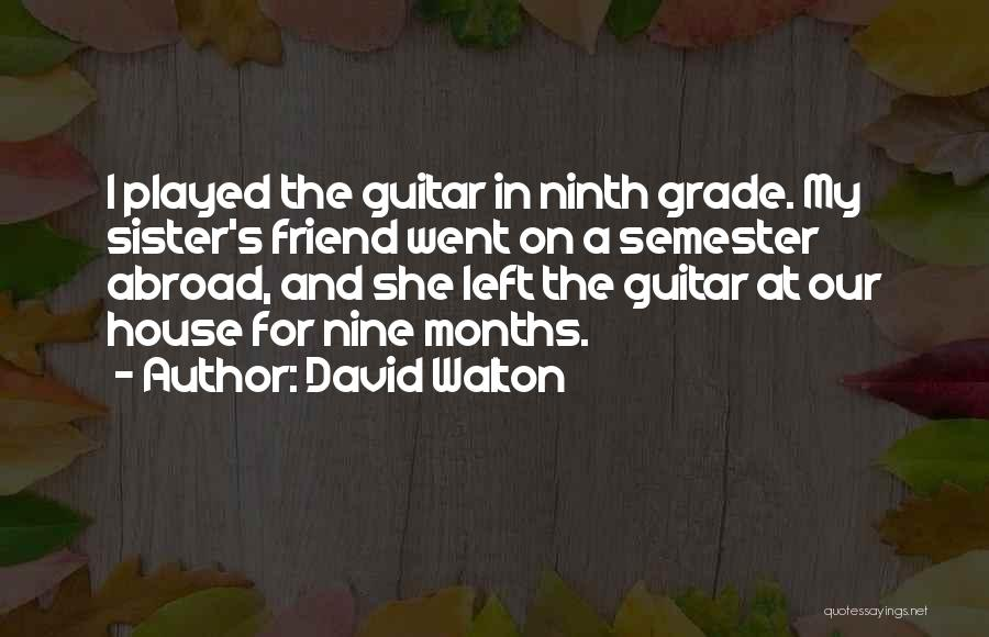 Sister Going Abroad Quotes By David Walton