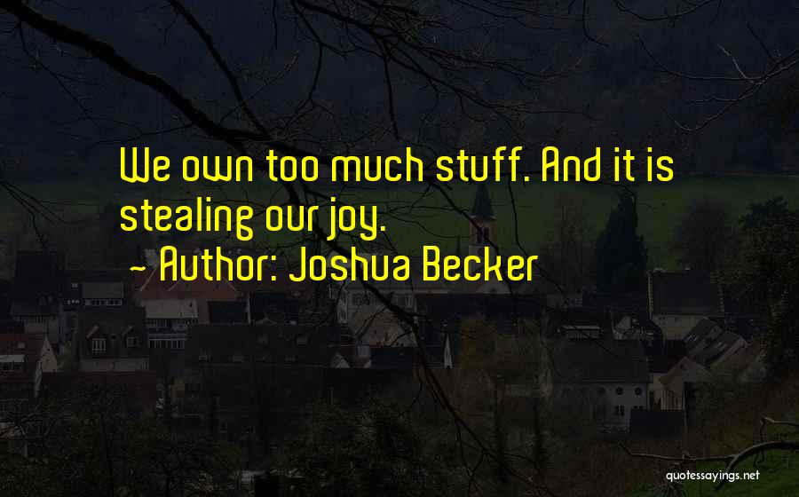 Someone Stealing Your Joy Quotes By Joshua Becker