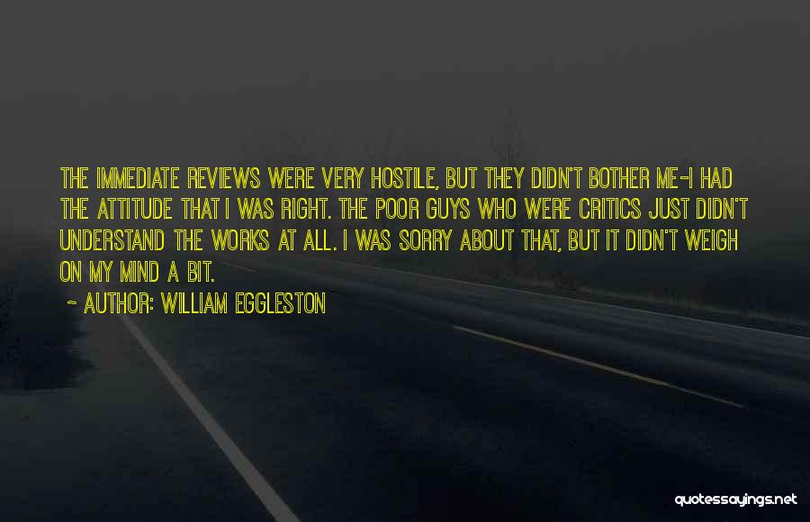 Sorry About That Quotes By William Eggleston