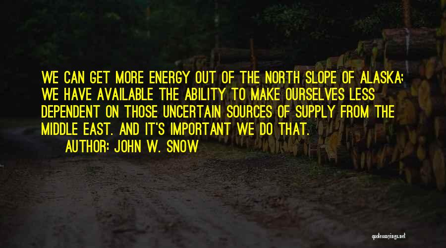 Sources Of Energy Quotes By John W. Snow