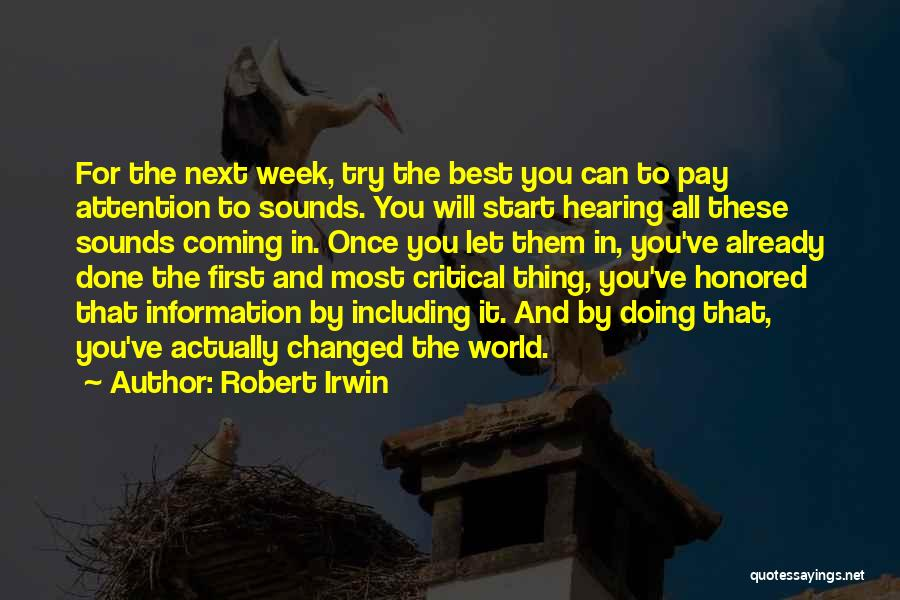 Start The Week Quotes By Robert Irwin