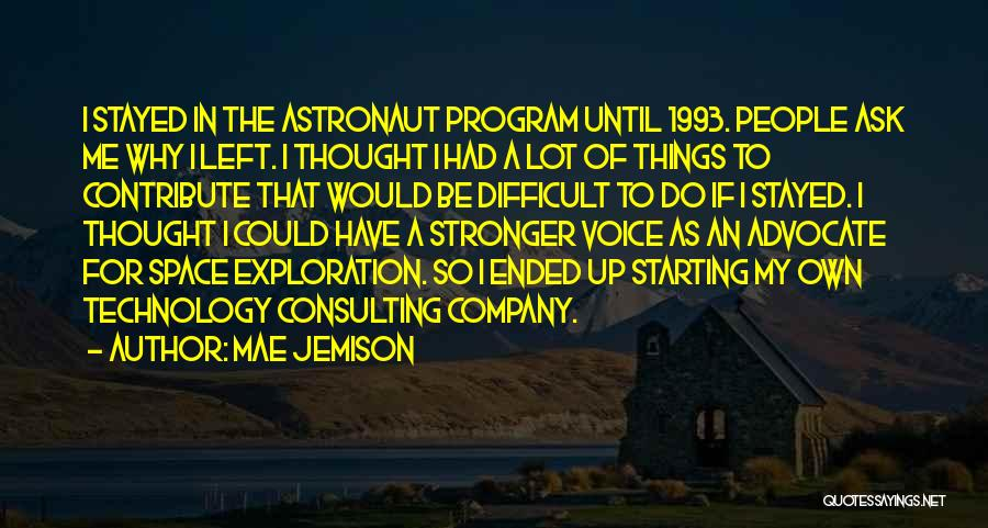 Starting A Company Quotes By Mae Jemison