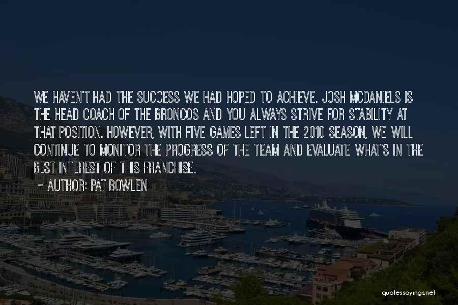 Strive For Success Quotes By Pat Bowlen
