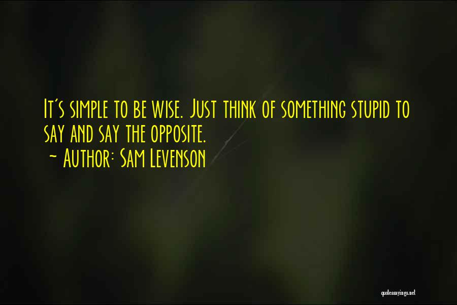 Stupid Simple Quotes By Sam Levenson